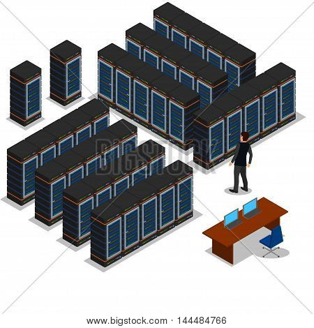 vector illustration, icon, data center, rack computer server farm