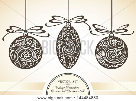 Vector set of vintage ornamental objects and Christmas decor