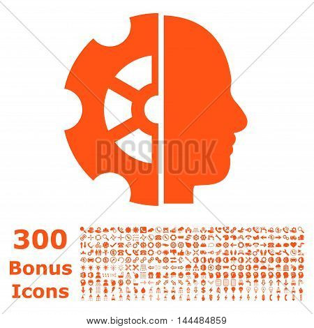 Intellect icon with 300 bonus icons. Vector illustration style is flat iconic symbols, orange color, white background.