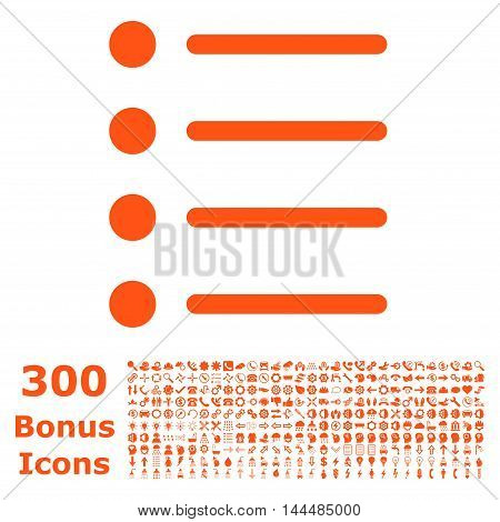 Items icon with 300 bonus icons. Vector illustration style is flat iconic symbols, orange color, white background.