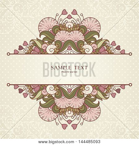 Template with hearts and abstract decorative frame with natural elements . Vector vintage design