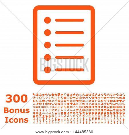 List Page icon with 300 bonus icons. Vector illustration style is flat iconic symbols, orange color, white background.