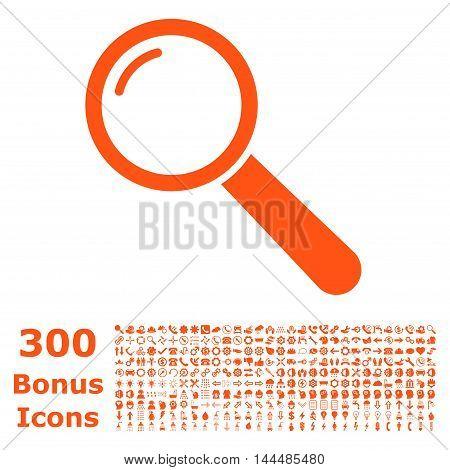 Magnifier icon with 300 bonus icons. Vector illustration style is flat iconic symbols, orange color, white background.