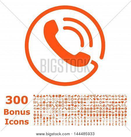 Phone Call icon with 300 bonus icons. Vector illustration style is flat iconic symbols, orange color, white background.