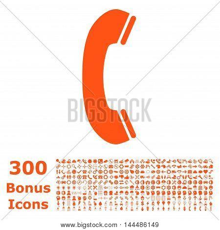 Phone Receiver icon with 300 bonus icons. Vector illustration style is flat iconic symbols, orange color, white background.