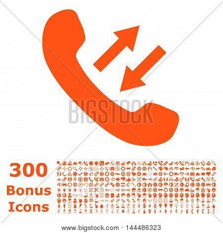 Phone Talking icon with 300 bonus icons. Vector illustration style is flat iconic symbols, orange color, white background.