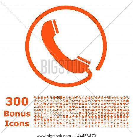 Phone icon with 300 bonus icons. Vector illustration style is flat iconic symbols, orange color, white background.