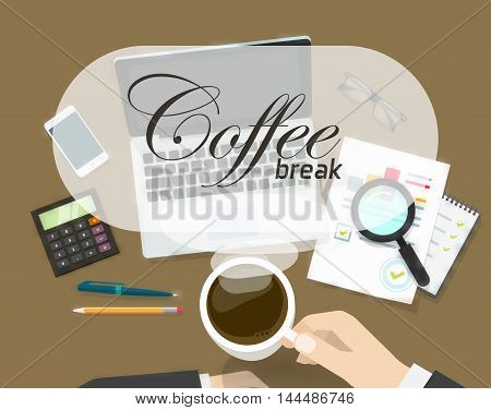 Coffee break banner vector illustration, concept of coffee time on office workspace, work place, person hand with hot coffee cup ready to drink and coffee break text, flat cartoon design