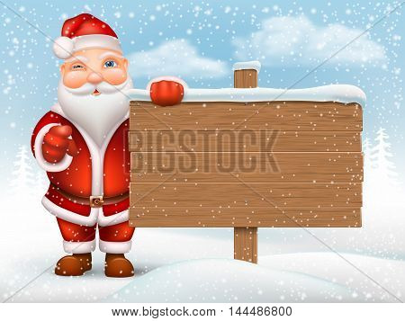 Santa Claus holding a wooden signpost on the background of the snow drifts.