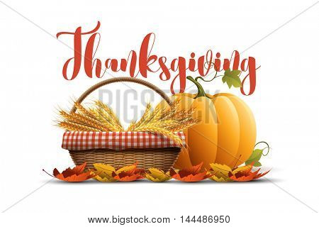 Vector autumn thanksgiving poster design template. Elements are layered separately in vector file.
