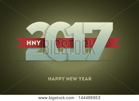 2017 Happy New Year. Vector greeting card design element.