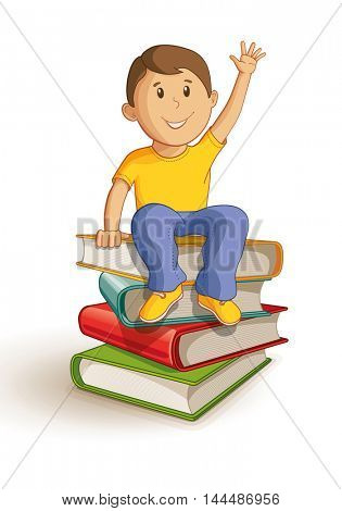 Vector illustration of a school boy sitting on the book stack.