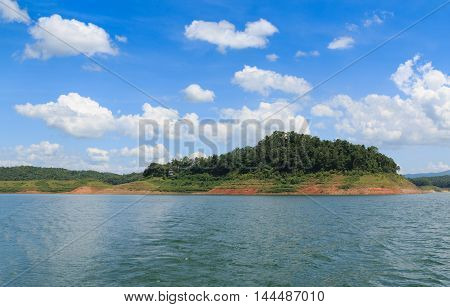 Blue sky with white clouds and rivers