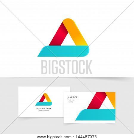 Colorful triangle logo with rounded corners vector isolated on white, blue orange red gradient abstract triangle logotype elements with shadow, letter a symbol, elegant creative geometric figure