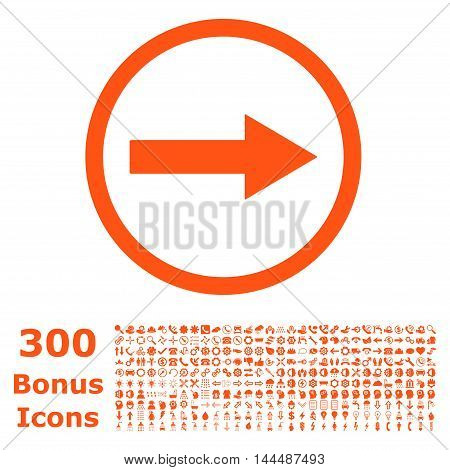 Right Rounded Arrow icon with 300 bonus icons. Vector illustration style is flat iconic symbols, orange color, white background.