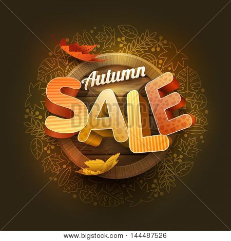 Vector autumn sale poster design template. Element are layered separately in vector file.