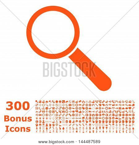 Search Tool icon with 300 bonus icons. Vector illustration style is flat iconic symbols, orange color, white background.