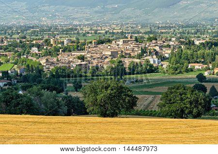 Medieval village of Bevagna (Umbria) and landscape