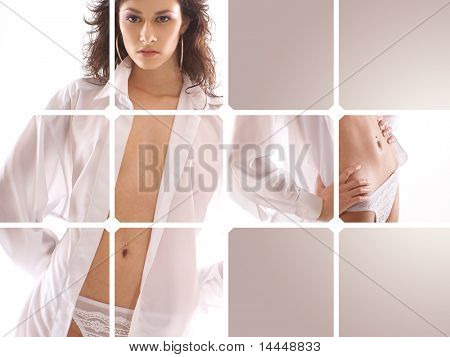 Attractive lady wearing male shirt