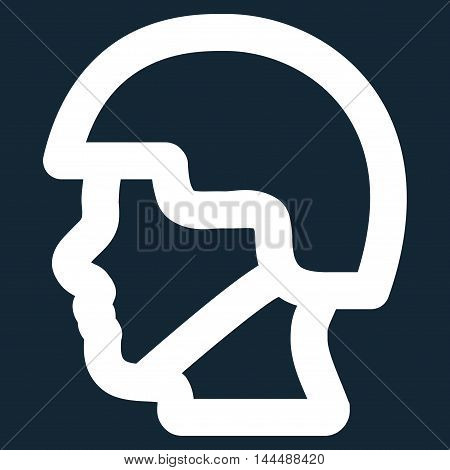Soldier Head vector icon. Style is contour flat icon symbol, white color, dark blue background.