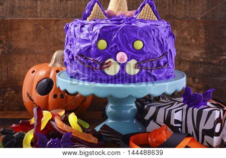 Halloween Party Purple Cat Cake