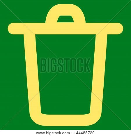 Bucket vector icon. Style is outline flat icon symbol, yellow color, green background.