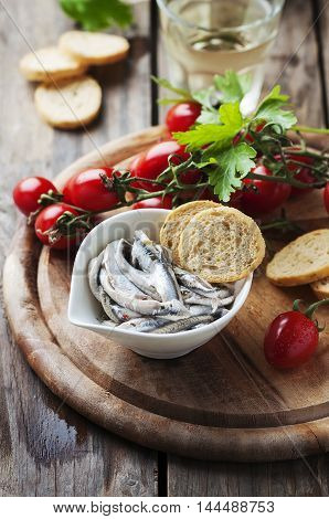 Italian Traditional Anchovy With Bread And Tomato