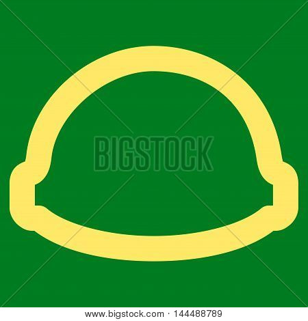 Builder Helmet vector icon. Style is outline flat icon symbol, yellow color, green background.