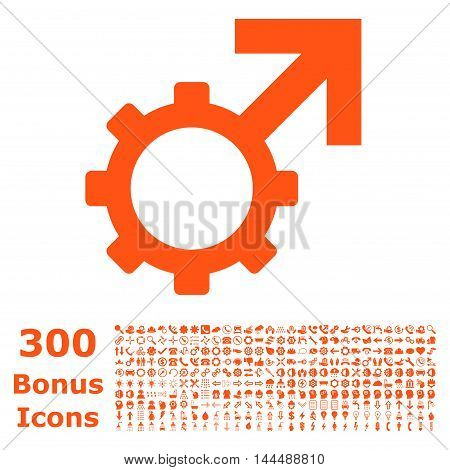 Technological Potence icon with 300 bonus icons. Vector illustration style is flat iconic symbols, orange color, white background.