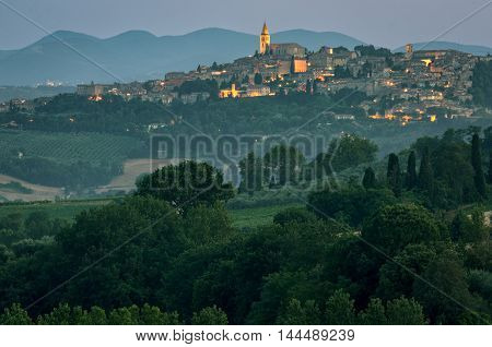 Todi (Umbria Italy) at twilight and landscape