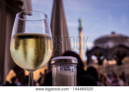 White Wine Glass Outdoor Restaurant Schlossplatz Stuttgart Germany