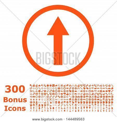 Up Rounded Arrow icon with 300 bonus icons. Vector illustration style is flat iconic symbols, orange color, white background.