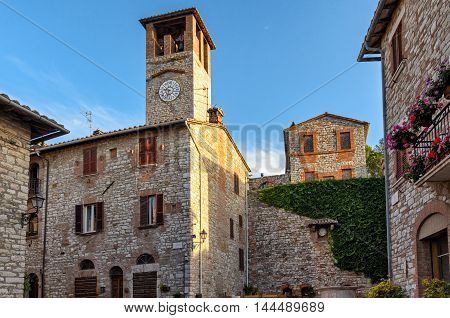 Corciano (Umbria) old buildings at early morning light