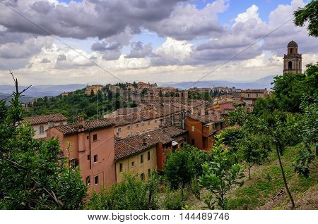 Perugia (Umbria) panorama from Porta Sole with clouds
