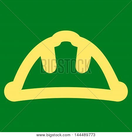 Helmet vector icon. Style is outline flat icon symbol, yellow color, green background.