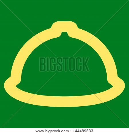 Helmet vector icon. Style is contour flat icon symbol, yellow color, green background.
