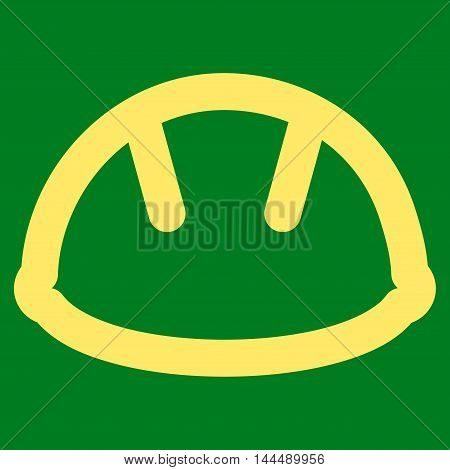 Helmet vector icon. Style is linear flat icon symbol, yellow color, green background.
