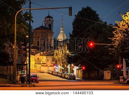 Turin (Torino) scenic view with Mole Antonelliana at twilight