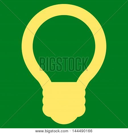 Light Bulb vector icon. Style is linear flat icon symbol, yellow color, green background.