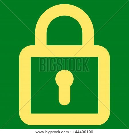 Lock vector icon. Style is contour flat icon symbol, yellow color, green background.