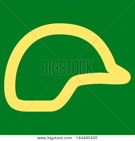 Motorbike Helmet vector icon. Style is outline flat icon symbol, yellow color, green background.