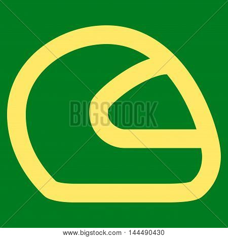 Motorcycle Helmet vector icon. Style is linear flat icon symbol, yellow color, green background.