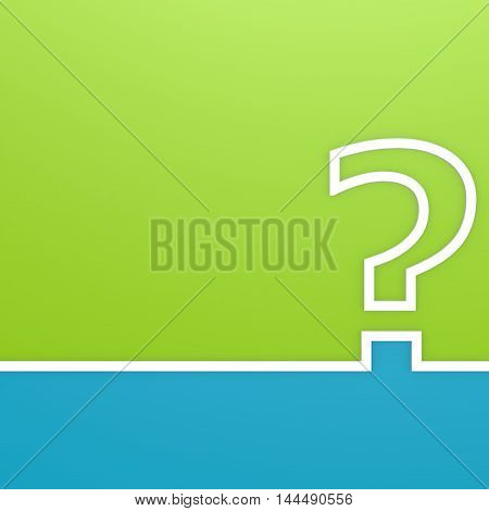 Question Mark On Green And Blue Background
