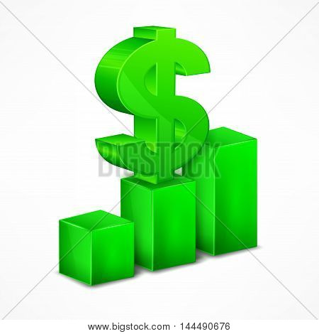 Green Chart With Dollar Sign On White