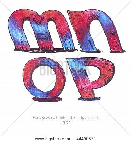 Large raster illustration with letters sequence from m to p. Part of hand drawn alphabet drawn with ink and color pencils in red and blue gradient style. Isolated on white inclined capital letters.