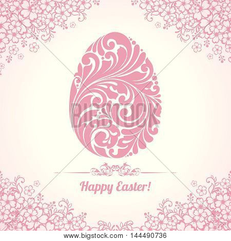 Elegant Happy Easter template. Vector illustration. Design invitation, banner, greeting card. Ornate egg on floral background