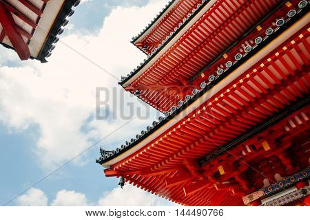architectural details of ancient Kiyomizu-dera temple in Kyoto, Japan
