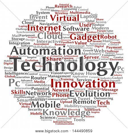 Vector concept or conceptual digital smart technology circle word cloud isolated on background