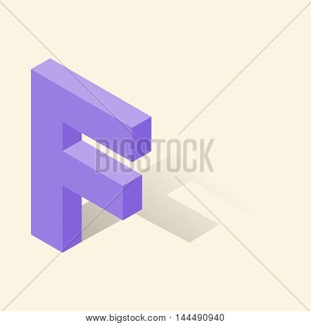 F letter in isometric 3d style with shadow. Violet F letter vector illustration