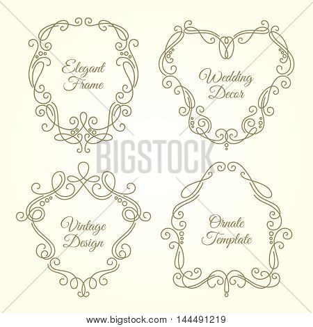 Set of ornate floral frames in monogram linear style with place for text. Premium design for invitation card logo. Vintage vector collection